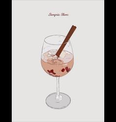 sangria blanc cocktail pomeganate cinnamon vector image