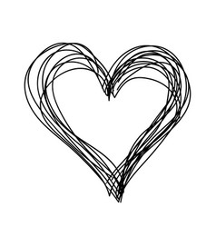 simple heart black and white children hand vector image