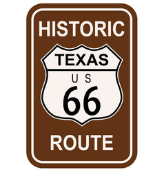 Texas historic route 66 vector