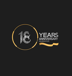 18 years anniversary logotype style with silver vector