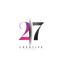 27 2 7 grey and pink number logo with creative vector image