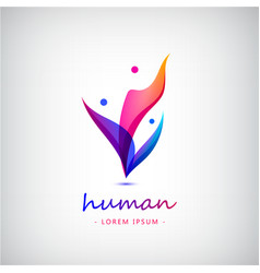 3d men human people logo of 4 meeting vector
