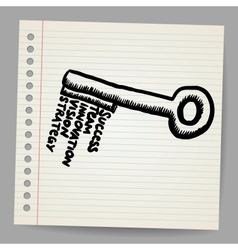 A key with words business doodle concept vector