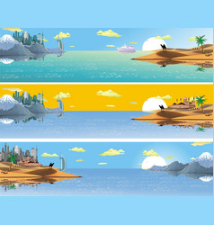 A set of panoramic landscapes of asia vector