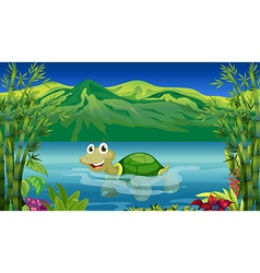 A turtle in the sea vector