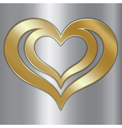 abstract pair of golden hearts on silver vector image vector image
