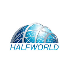 abstract three dimensional half world globe logo vector image