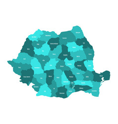 administrative counties of romania map in vector image