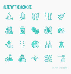 Alternative medicine thin line icons set vector