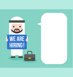 Arab businessman holding post we are hiring and vector