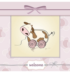 Baby shower card with cute cow toy vector