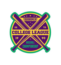 baseball college league label with crossed bats vector image