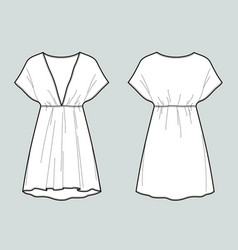 Beach summer dress front and back views vector