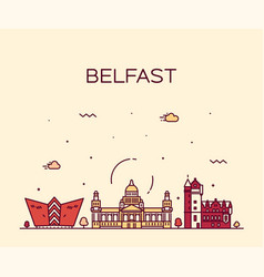 Belfast skyline northern ireland linear vector