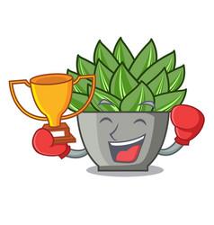 Boxing winner cartoon echeveria cactus in cactus vector