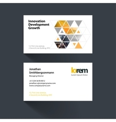 Business card template with yellow diagonal vector