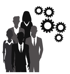 business people teamwork gear together vector image
