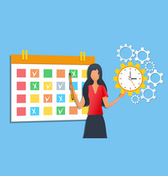 Businesswoman organizing daily routine using vector