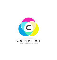 C colorful circular letter design with rainbow vector