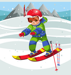 cartoon cheerful child moving on ski in suit vector image