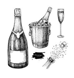 Champagne set glass bottle ice bucket vector