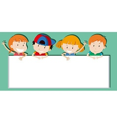 Children holding empty sign vector
