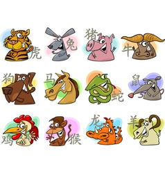 chinese cartoon zodiac signs vector image