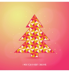 Christmas card with tree Xmas card vector image