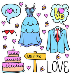 Collection stok of wedding element doodles vector