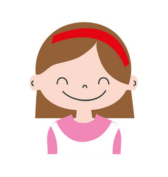 Colorful girl with hairstyle and headband design vector
