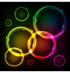 Colorful neon circles abstract frames background vector image