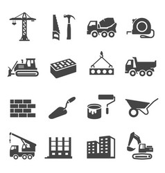 Construction icons set industrial business and vector