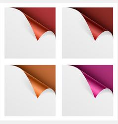 curled colored foil metallic corner paper mock up vector image