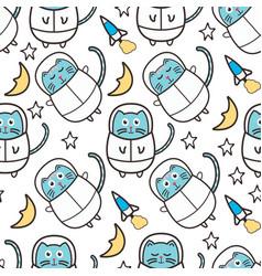 cute cat astronaut seamless pattern vector image