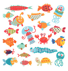 Cute flat fish funny cartoon character vector