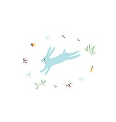 cute hare minimalistic design vector image