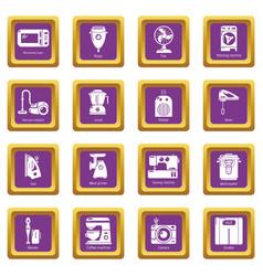 domestic appliances icons set purple square vector image