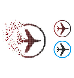 Dust pixel halftone airport icon vector
