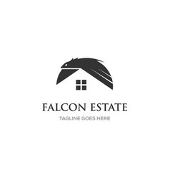 Eagle logo design with real estate home symbol vector