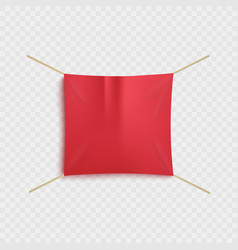 empty red textile advertising sale banner hanging vector image