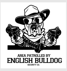 English bulldog dog with hat two pistols and vector