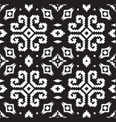ethnic geometric pattern in black and white colors vector image