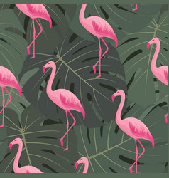 exotic tropical seamless pattern with flamingos vector image