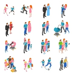 Family people Isometric Icons Set vector