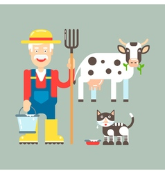 Farmer Cow Cat vector image