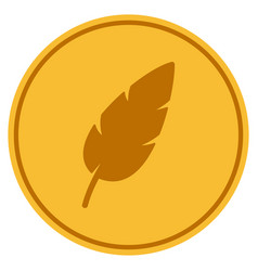 Feather gold coin vector