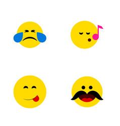 flat icon emoji set of delicious food descant vector image