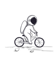 Funny astronaut rides on bicycle on moon vector