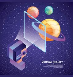Gamer using virtual reality glasses watching vector