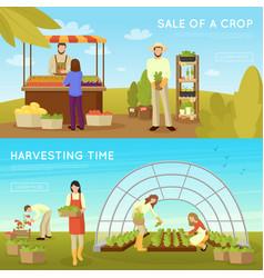 Gardening horizontal banners vector